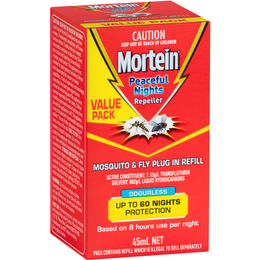 MORTEIN PEACEFUL NIGHTS MOSQUITO & FLY PLUG IN REFILL