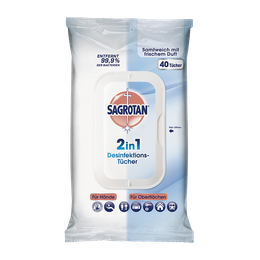 Sagrotan 2in1 Desinfektions-Tücher für Hände und Oberflächen 40 Stück