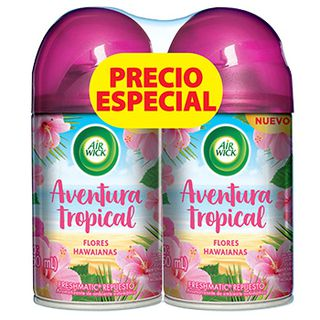 AIR WICK® FRESHMATIC® AVENTURA TROPICAL FLORES HAWAIANAS REPUESTO 250ML (X2)