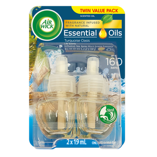Air Wick Essential Oils Plug In Turquoise Oasis Twin Refill