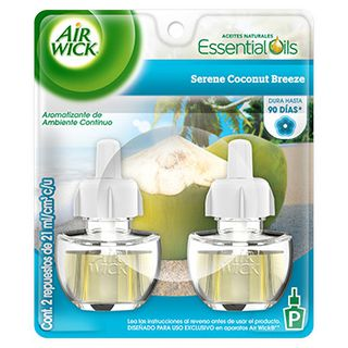 Air Wick® Eléctrico Serene Coconut Breeze Repuesto 21 ml (x2) (1)