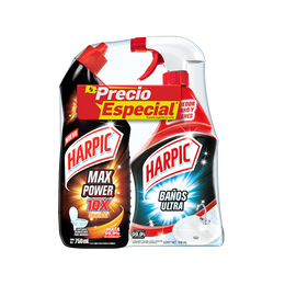 PAQUETE ESPECIAL de Harpic® POWER ULTRA 750ML CON Harpic® BAÑOS ULTRA 650ML