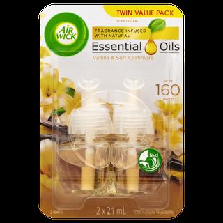 Air Wick Essential Oils Plug In Vanilla & Soft Cashmere Twin Refill