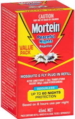 MORTEIN  PEACEFUL NIGHTS MOSQUITO & FLY PLUG IN PRIME