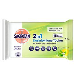 Sagrotan 2in1 Desinfektions-Tücher Zitronenblütenduft 15 Stück