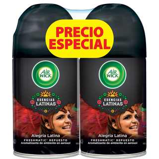 AIR WICK® FRESHMATIC® ESENCIAS LATINAS ALEGRÍA LATINA REPUESTO 250ML (X2)