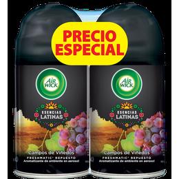 AIR WICK® FRESHMATIC® ESENCIAS LATINAS CAMPOS DE VIÑEDOS REPUESTO 250ML (X2)