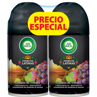 AIR WICK® FRESHMATIC® ESENCIAS LATINAS CAMPOS DE VIÑEDOS REPUESTO 250ML (X2)