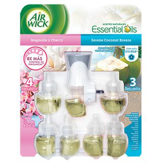 AIR WICK® ELÉCTRICO MAGNOLÍA Y CHERRY / SERENE COCONUT BREEZE APARATO + REPUESTO 21 ML(X7)