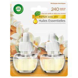 Air Wick Recharge Diffuseur Electrique Duo Pack Fleur de Vanille & Délice de Caramel