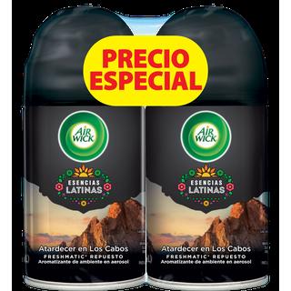 AIR WICK® FRESHMATIC® ESENCIAS LATINAS ATARDERCER EN LOS CABOS REPUESTO 250ML (X2)