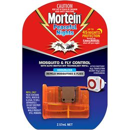 Mortein Peaceful Nights Mosquito & Fly Plug with Auto Switch Off Refill 2.57g